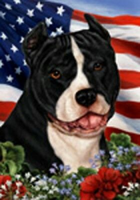 Large Indoor/Outdoor Patriotic I Flag - Bl/Wh American Pit Bull Terrier 16405