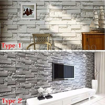 10M 3D Retro Wallpaper Mural Roll Realistic Stone Brick Wall Background Textured