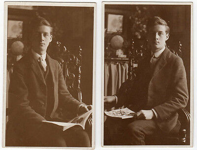 2 Vintage RPPC Real Photo Postcards Same Young Man Reading dated 1917