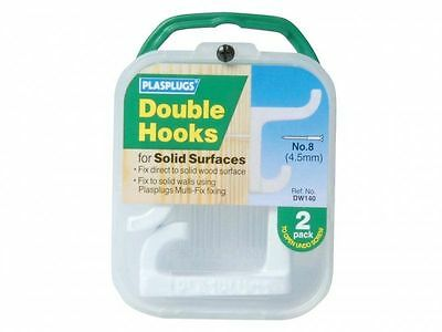 Plasplugs White Double Hooks for Solid Surfaces DW140 Pack of 2 Coats Jackets
