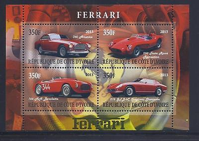 X207 Mint NH 2013 Sheet of 4 Diff. Luxery Automobiles Ferrari Souvenir Sheet
