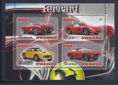 X211 Mint NH 2013 Sheet of 4 Diff. Luxery Automobiles Ferrari Souvenir Sheet