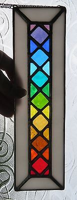 Rainbow Lattice! Gorgeous Long Stained Glass Suncatcher  - pewtermoonsilver