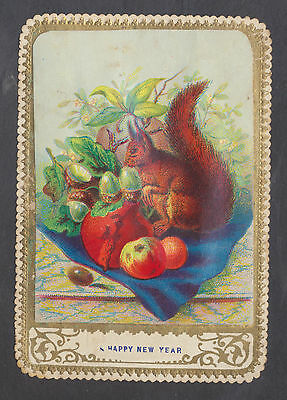 C11332 Victorian New Year Card: Squirrel Chromo 1870s