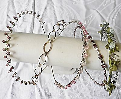 Retro Vintage Hair Bands 5 Lucite Material Diamante Beaded Mixed Alice Bands