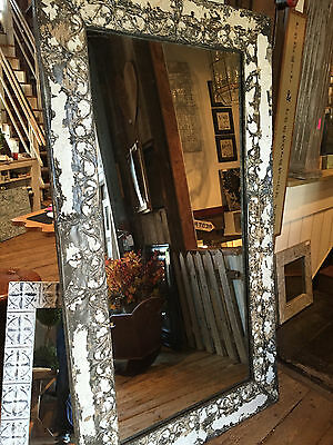Large Vintage Tin Mirror