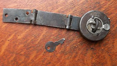 Antique Working Wrought Iron Hinged Keyed Trunk Padlock & Catch c1880 Unusual