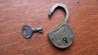 Antique Working Brass Padlock & Key c1900 by Sargent