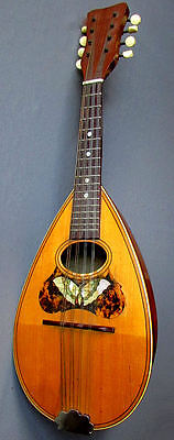 Antique BOWL BACK 8 String MANDOLIN Inlaid Mother of Pearl Butterfly circa 1910
