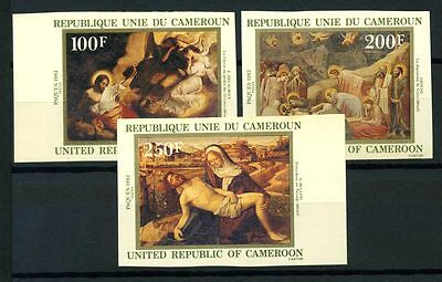 16-10-05751 - Cameroon 1982 Mi.  970-972 MNH 60% Imperf. Easter