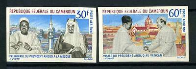16-10-05741 - Cameroon 1968 Mi.  531-532 MNH 100% Imperf. President and Pope
