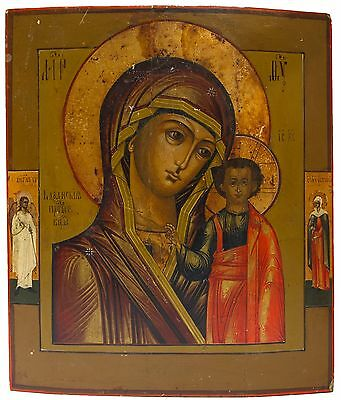 Old Antique Russian Icon: Kazanskaya Mother of God, 19th c