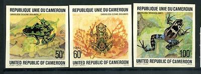 16-10-05740 - Cameroon 1978 Mi.  877-879 MNH 40% Imperf. Grenouilles. Frogs