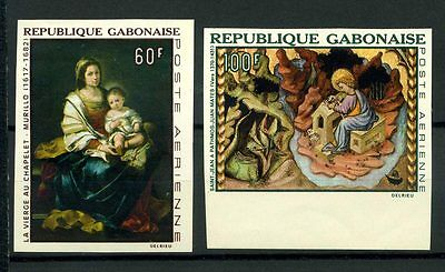 16-10-05687 - Gabon 1968 Mi.  301,303 MNH 100% Imperf.Painting. Culture