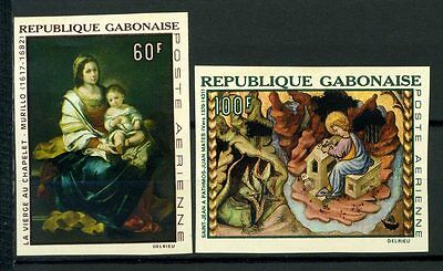 16-10-05688 - Gabon 1968 Mi.  301,303 MNH 100% Imperf.Painting. Culture. Art