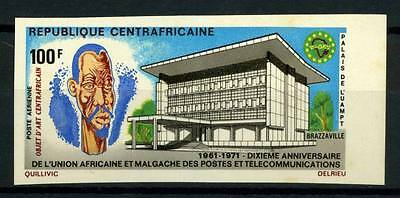 16-10-05682 - Central Africa 1971 Mi.  247 MNH 100% Imperf. Post and Telecommuni