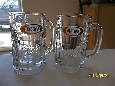 Pair of Vintage A &W  Root Beer Mugs, Heavy Glass, thumbprint pattern at top