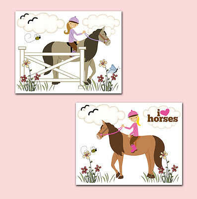 Horse Wall Art Prints Baby Girl Barnyard Animals Nursery Kids Western Farm Pony