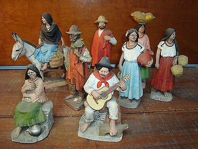 Antique 8 Clay sculptures  Spain Paraguay Serafin Marsal Native indians market