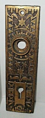 Antique Brass Victorian Door Plate Cover Eastlake Art Deco Floral Star Key Hole