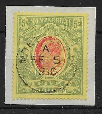 Montserrat Sg47 1909 5/= Red & Green On Yellow Used On Piece
