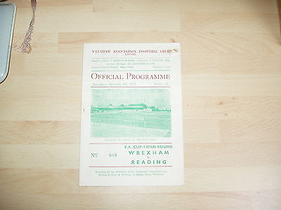 Wrexham v Reading FA Cup 3rd Rd 1956/7