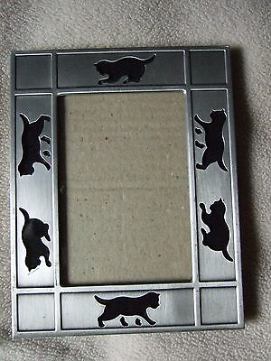 Silver and Black Cat Photo Picture Frame Stand alone