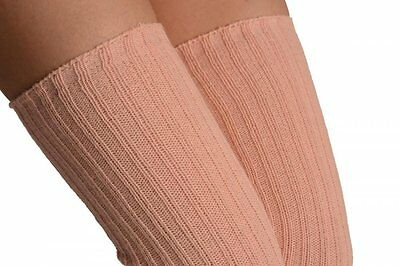 """Adult Pink Wool Blend Ribbed Leg Warmers Dance Ballet Extra Long 39""""  - England"""