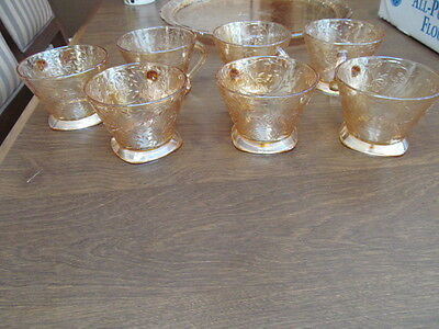 7 - Jeannette Glass Floragold Louisa Coffee Punch Cups