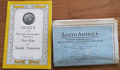 Vintage National Geographic Map and Index: 1942 South America