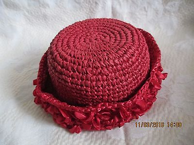 "Nwt Crocheted Straw & Red Ribbon Doll Hat~5"" Diameter~Sweet!"