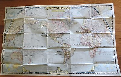 Vintage National Geographic Map 1951 The World Map