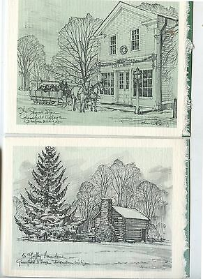 2 Old Christmas Cards from Henry Ford Museum signed Jim Fowler