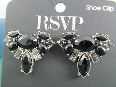 Black & Clear RSVP Rhinestone Shoe Clips NEW on Card