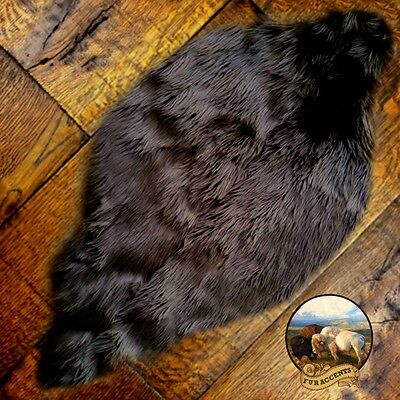 Brown Beaver Grizzly Bear Skin Faux Fur Pelt Hide Throw Rug Shag Sheepskin Area