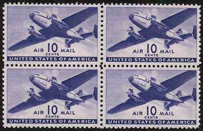 US #C27 10c Airmail UNUSED,NG Block of 4 Stamps