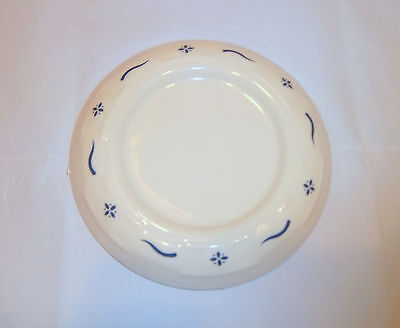 Longaberger Pottery Woven Traditions Classic Blue on Cream Pillar Candle Holder
