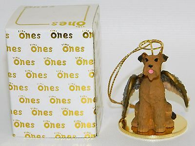 """Airedale Terrier Dog Figurine Ornament Angel 2"""" Miniature Figure Tiny Ones 1996"""
