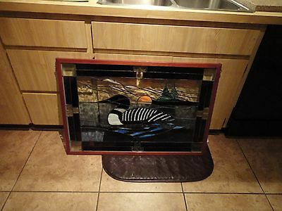 Old Vintage Loon Bird Stained Glass Window Display Large (SM)