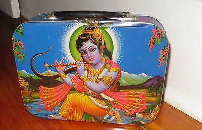 Accoutrements vintage Metal Lunch Box - Lord Krishna India / Hindu design