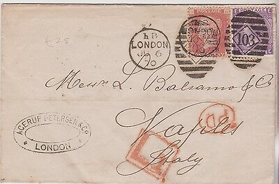 1870 QV LONDON WRAPPER WITH 1d RED & SG109 6d STAMPS COMBO CAT £140+  BOX L1