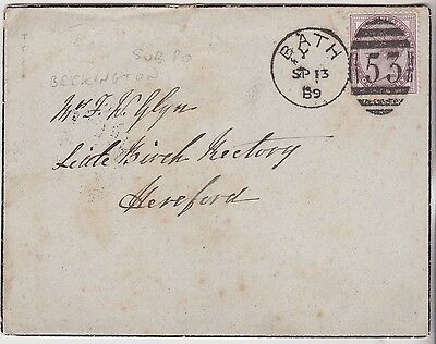 1889 QV 1d LILAC STAMP ON BATH COVER WITH RARITY BECKINGTON SUB PO