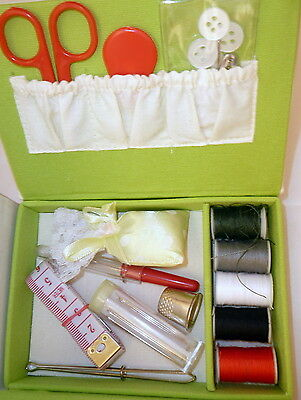 Travel Sewing Box Scissors Tape Needles Pins Cotton Buttons Thimble Tweezers Etc