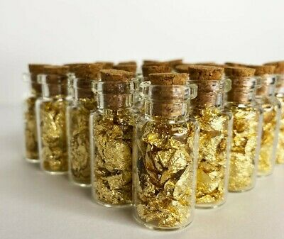 ✯ Lot of 5 GOLD LEAF FLAKE GLASS VIALS ✯ Beautiful Flakes! ✯ Great Gift! + BONUS