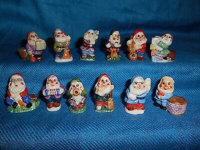 GARDEN LAWN GNOMES Set of 10 Mini Figurines FRENCH Porcelain FEVES Lutin w/ Pegs