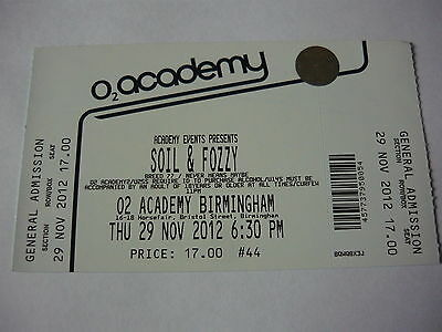 Soil/fozzy - Unused 2012 Concert Ticket