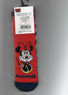 Childrens 2 Pairs Blue/Red Minnie Mouse Socks Size 6-8.5  Stocking Filler Xmas
