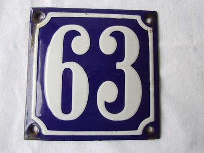 Antique German Porcelain House Number Plaque Enamel Steel Metal Sign 63