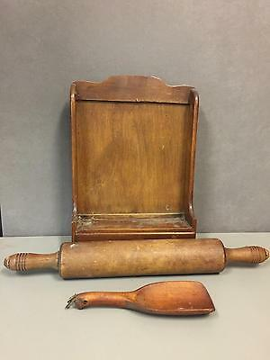 Lot Is For Vintage Wood Rolling Pin-Butter Scoop And Photo/key Holder Rack