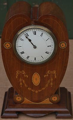 Beautiful Looking Old Wooden Inlaid Art Nouveau Mantel Clock To Restore